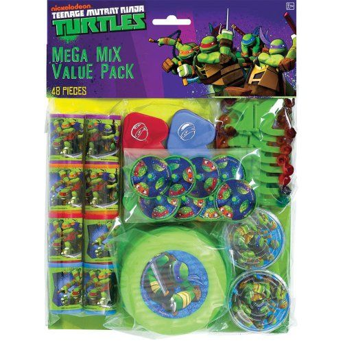 Teenage Mutant Ninja Turtles Party Favor Pack - Birthday and Theme Party Supplies - 48 Per Pack SmileMakers http://www.amazon.com/dp/B00JRDYWDM/ref=cm_sw_r_pi_dp_vpK3ub191ZRAY