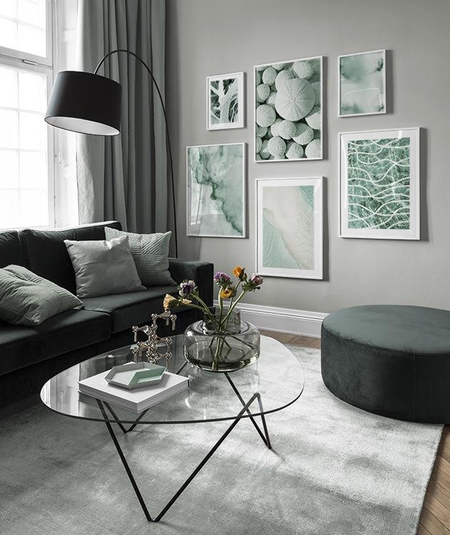 Inspiration für schöne Wohnzimmer Bilderwand mit Postern | Desenio #deseniobilderwand