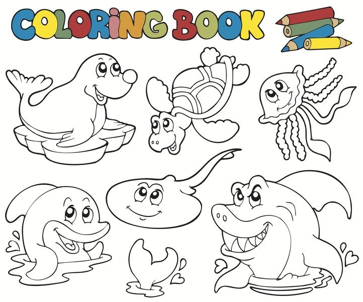 Ocean animals coloring page | Molly\'s ABC Book | Pinterest