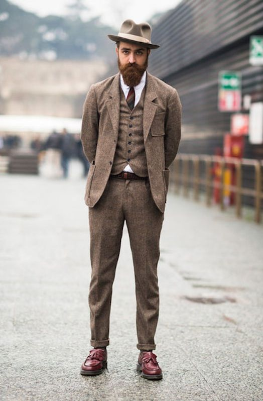 Shabby chic Mens outfits, Three piece suit