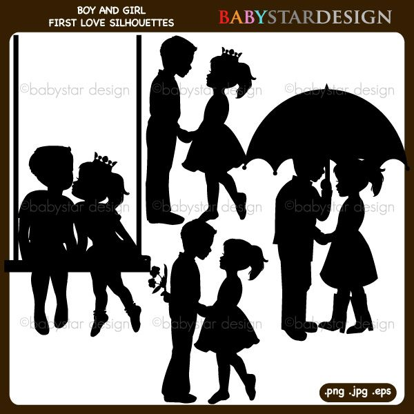 Boy and girl first love silhouettes clipart great for valentines day projects card making