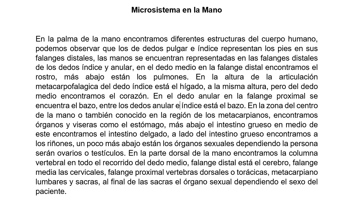 Ubicación de órganos y vísceras en la mano. | Microsistema del ...