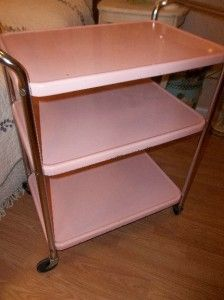 kitchen utility carts island with range vtg 1950 s cosco pink 3 tier metal chrome cart mid century retro ebay