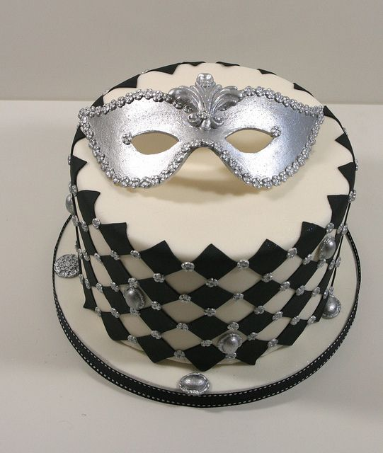 Cake Decor Mardi Gras Mask Masquerade New Orleans