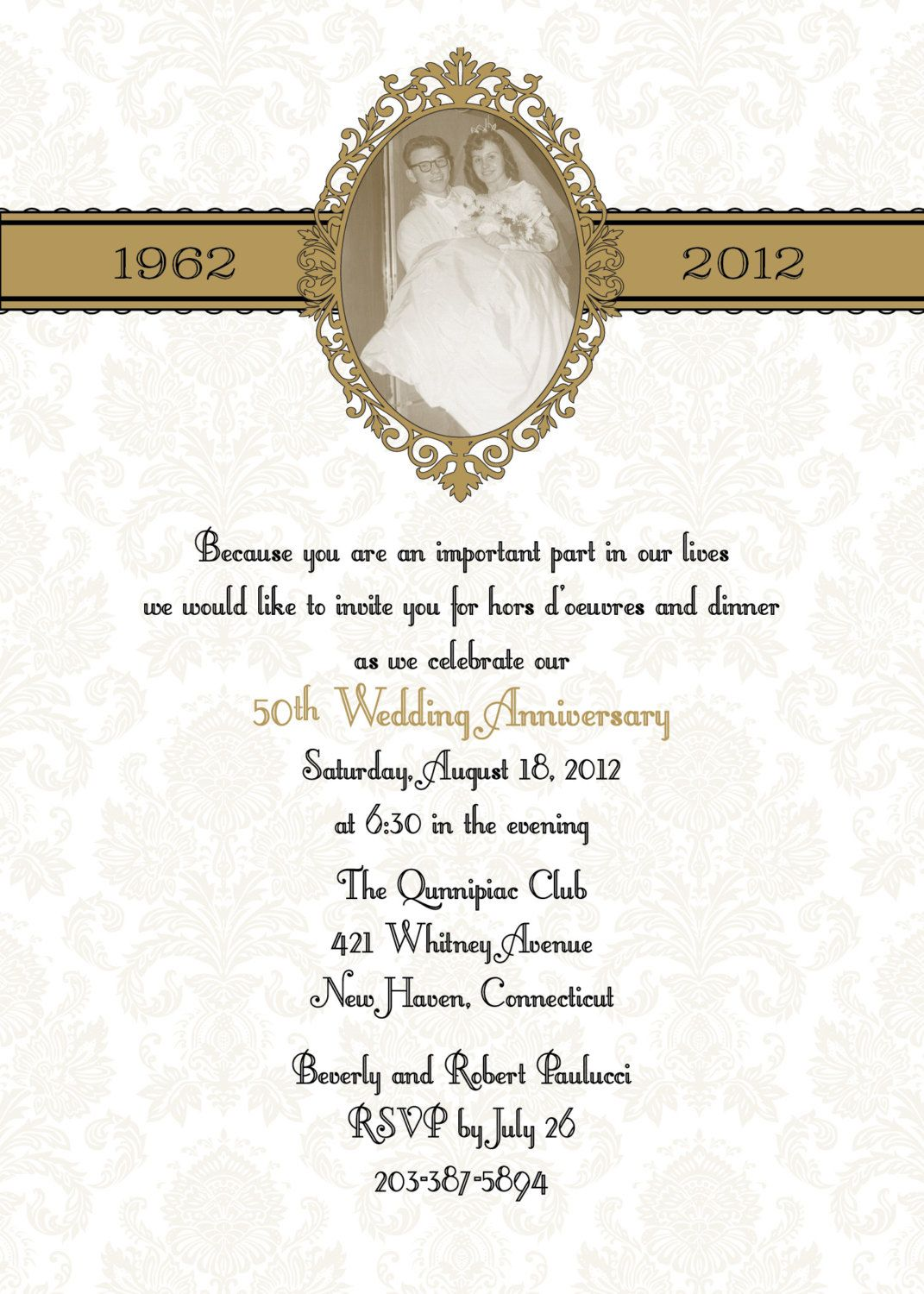 Damask 50th or 25th anniversary wedding invitation DIY print ...