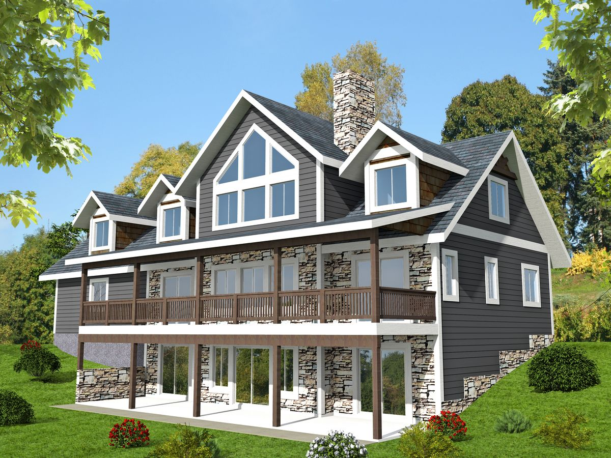 3 Bed Sloping Lot House Plan with