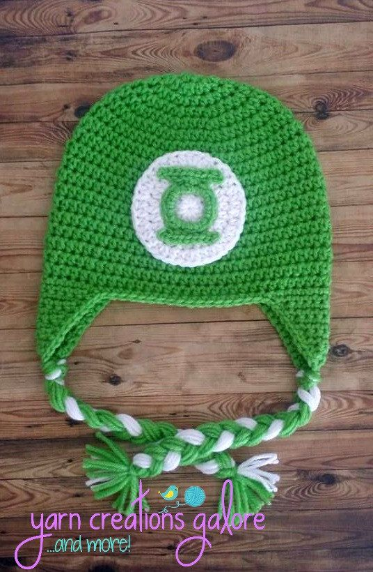 Crochet Green Lantern Hat by YarnCreationsGalore on Etsy Touca De Frio 76436ca7ff7