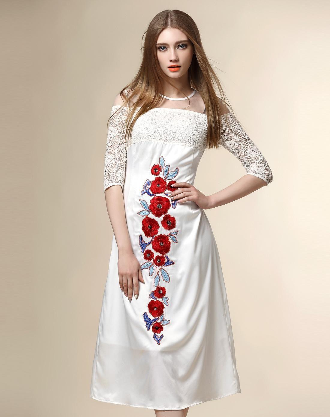 #AdoreWe #VIPme Party Dresses - Nexiia White Lace Embroidery Yoke Feminine Midi Dress - AdoreWe.com