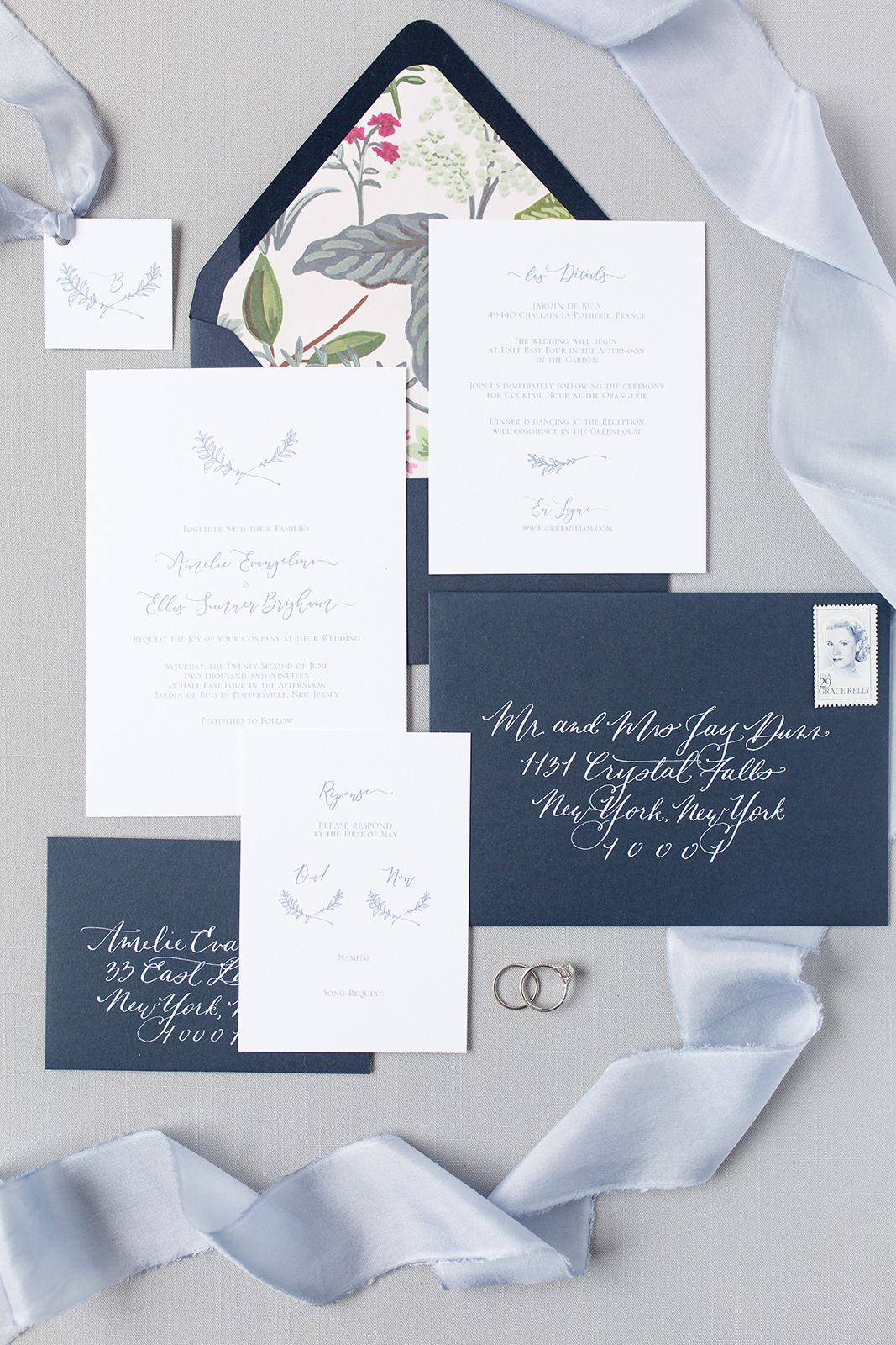 This delicate indigo stationery suite was created