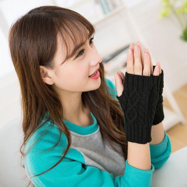 Women's Warm Winter Brief Paragraph Knitting Rhombus Half Fingerless Gloves Fingerless Gloves Female Girls #LYW
