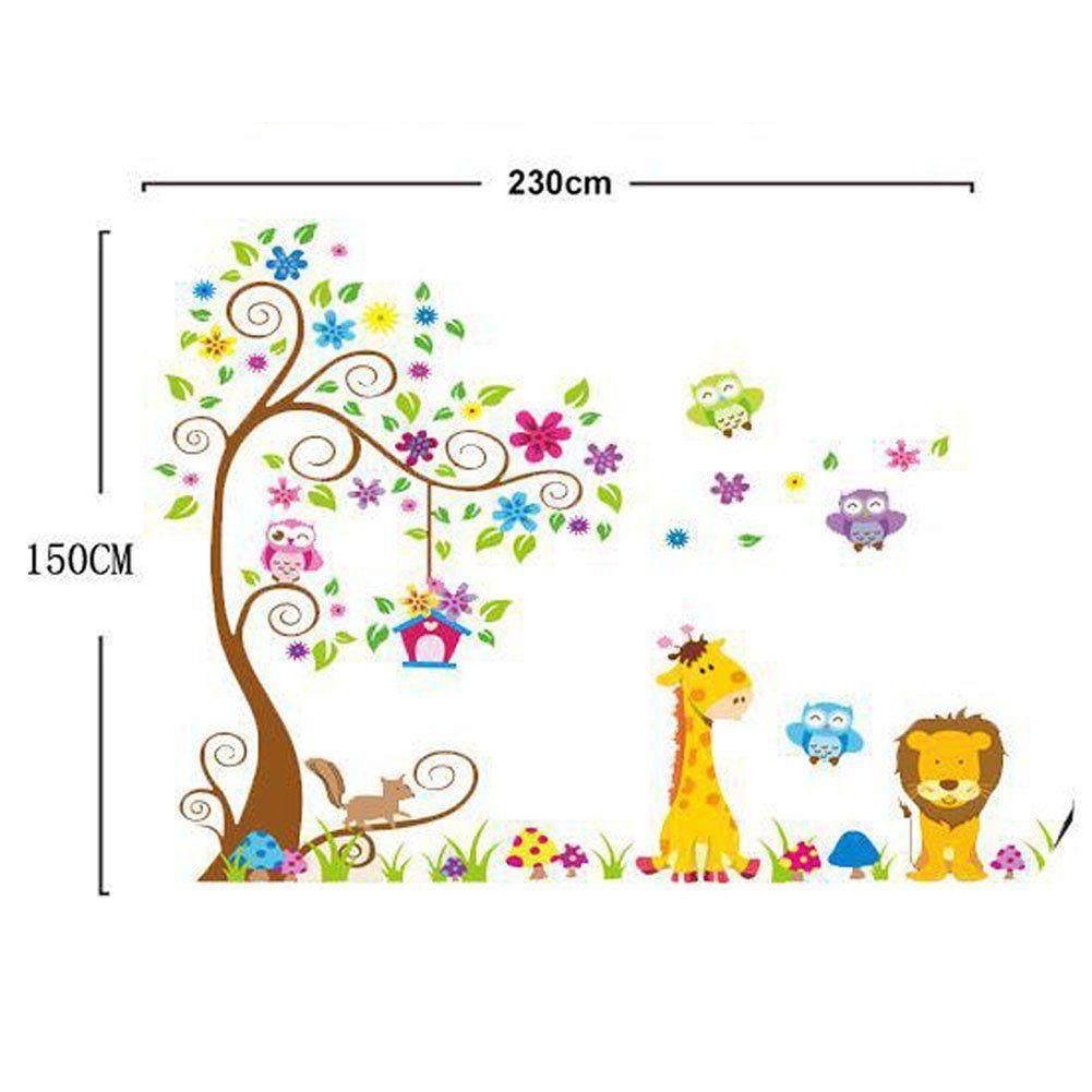 Simple Wandtattoo Dschungel Wald L we Giraffe Eichh rnchen Eule auf bunten Baum Wandsticker f r Kinderzimmer Kindergarten Schlafzimmer