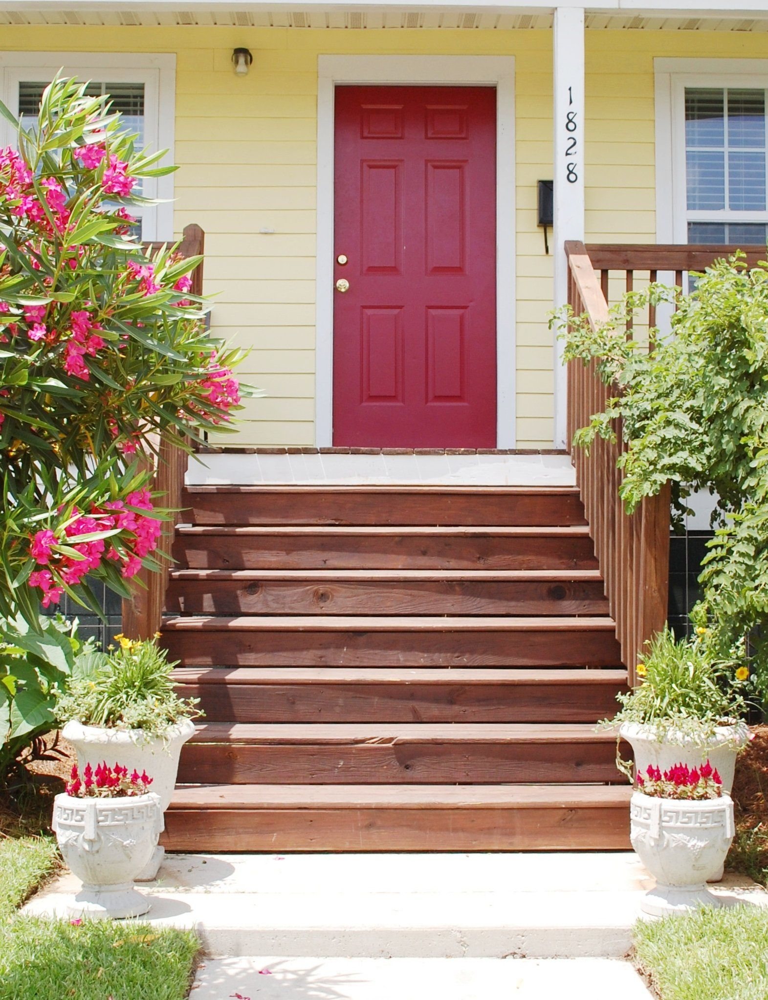 Red Door With Yellow House Google Search Yellow House Exterior