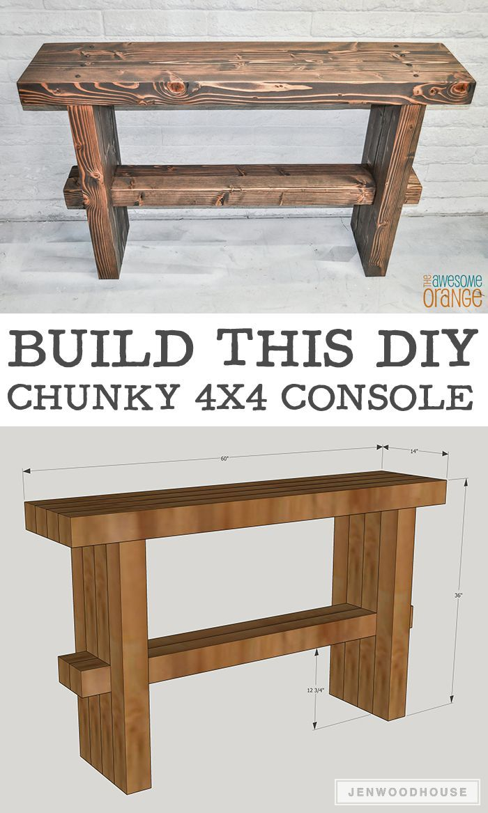 DIY Chunky Rustic Console Do It Yourself Today Pinterest - How to build a console table