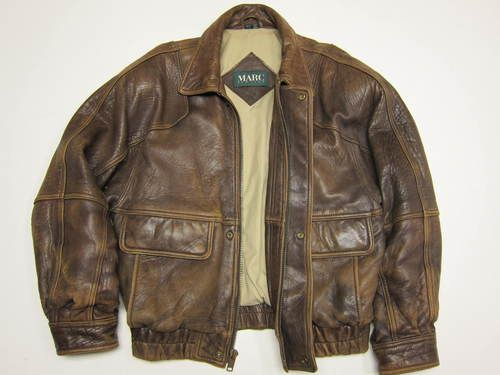 Awesome Andrew Marc New York Brown Distressed Leather Bomber ...