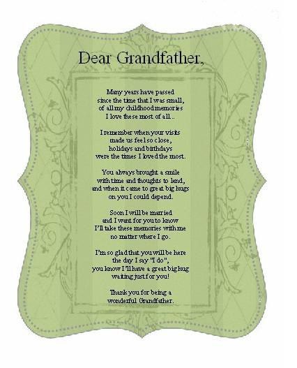 Grandfather of the bride poem---could be reworked for grandmothers
