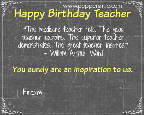 Birthday Card For Teacher Teacher Birthday Card Birthday Quotes For Teacher Greetings For Teachers