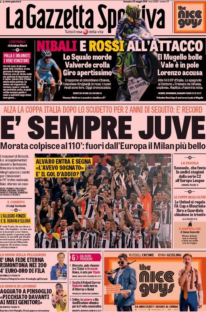 Prima Pagina La Gazzetta dello Sport 22/05/2016 Sport