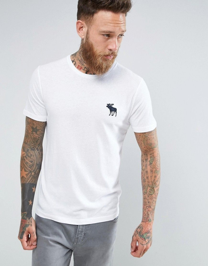 2fc3d4671 Abercrombie & Fitch Slim Fit T-Shirt Exploded Icon Crew Neck in White