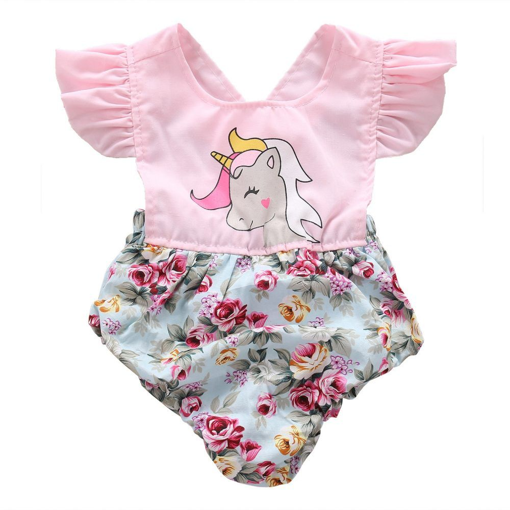 Summer Infant Baby Girl Unicorn Romper Bodysuit Jumpsuit Outfits Sunsuit Clothes