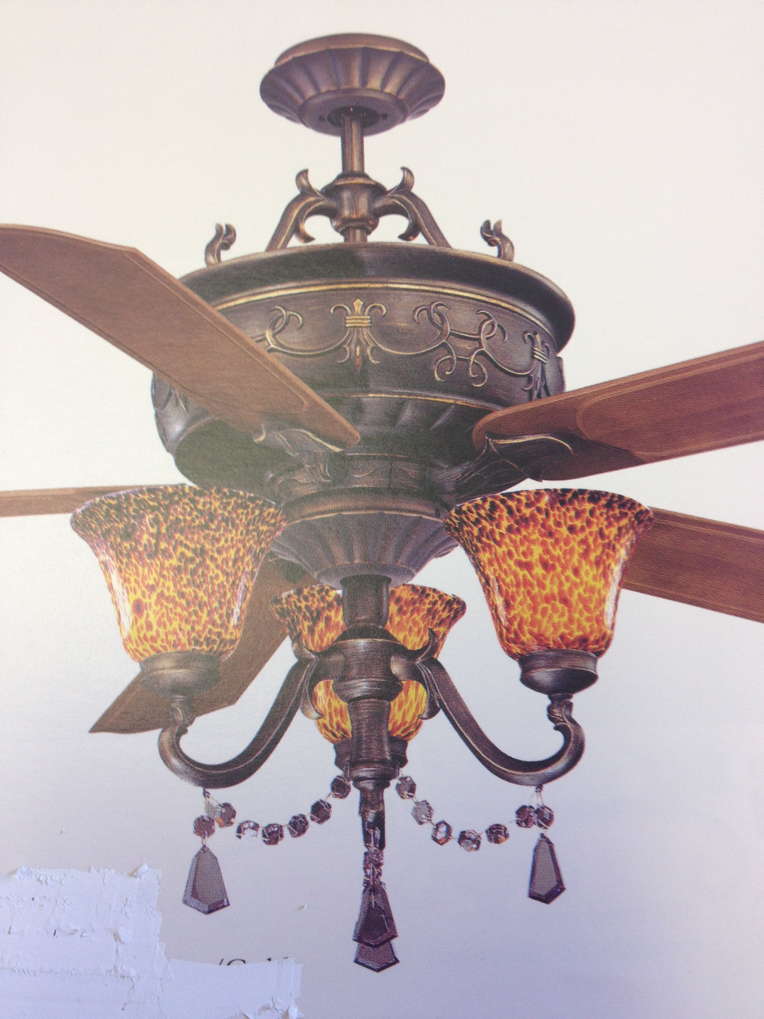 Beautiful Ceiling Fan With Leopard Glass Shades Design Divas Lighting Tulsa Ceiling Fan Tuscan Decorating Glass Shades
