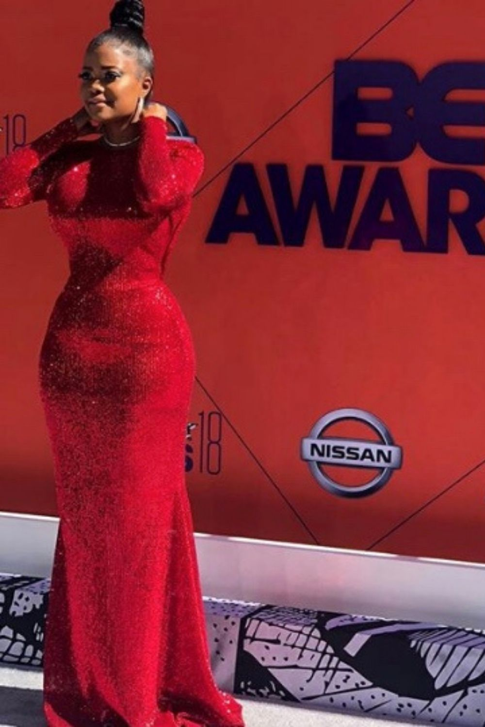 Pictured: #KarenCivil Styled By: #BrittanyDiego #stylist #redcarpet #BETawards #glamorous #reddress
