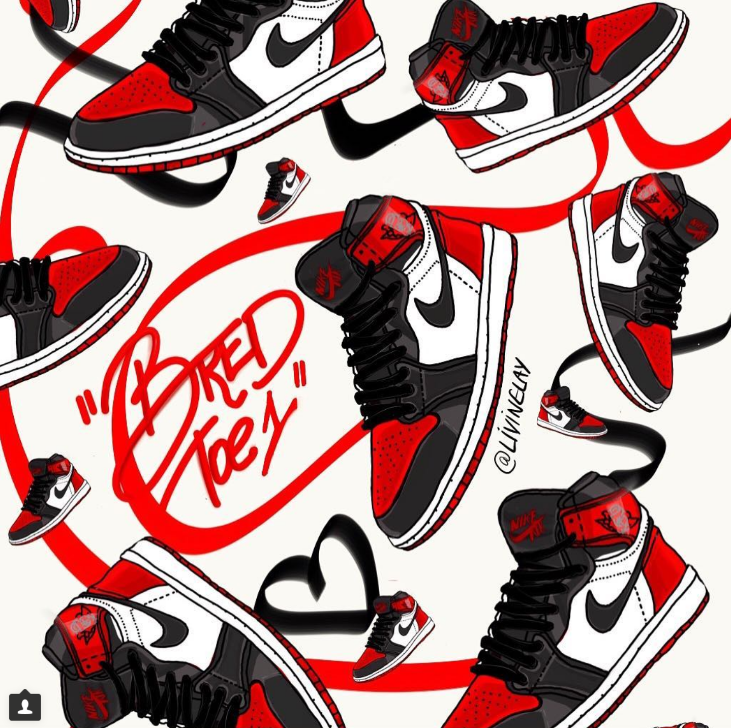 "990e78ec670b9 Jordan 1 ""Bred Toe"" Sneaker Illustration ..."