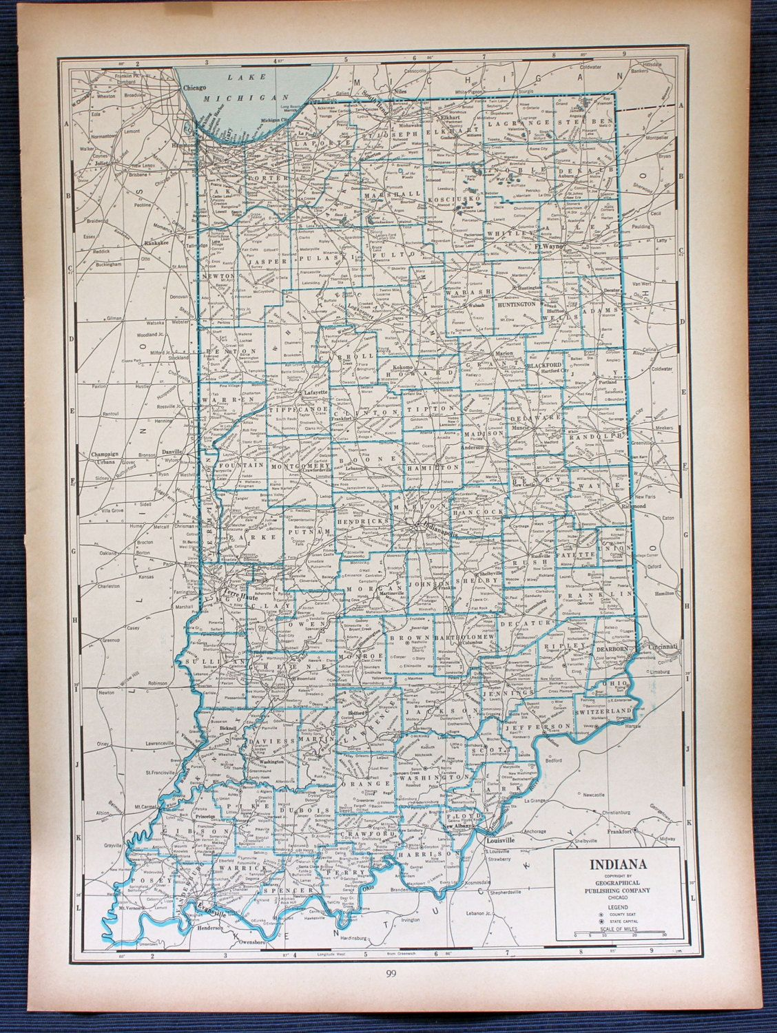 1941 Indiana Map or Iowa Map