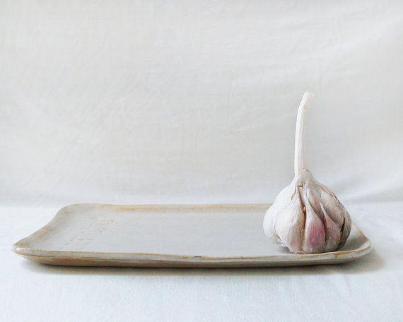 Ceramic white tray With Love  Handmade serving by NoykiCeramics #ceramic #gift #tray #minimalist