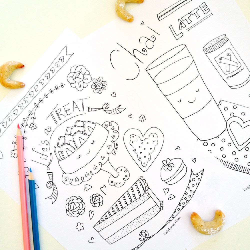 Tea Time Coloring Book for Adults or Kids - PDF Colouring Book - 10 ...