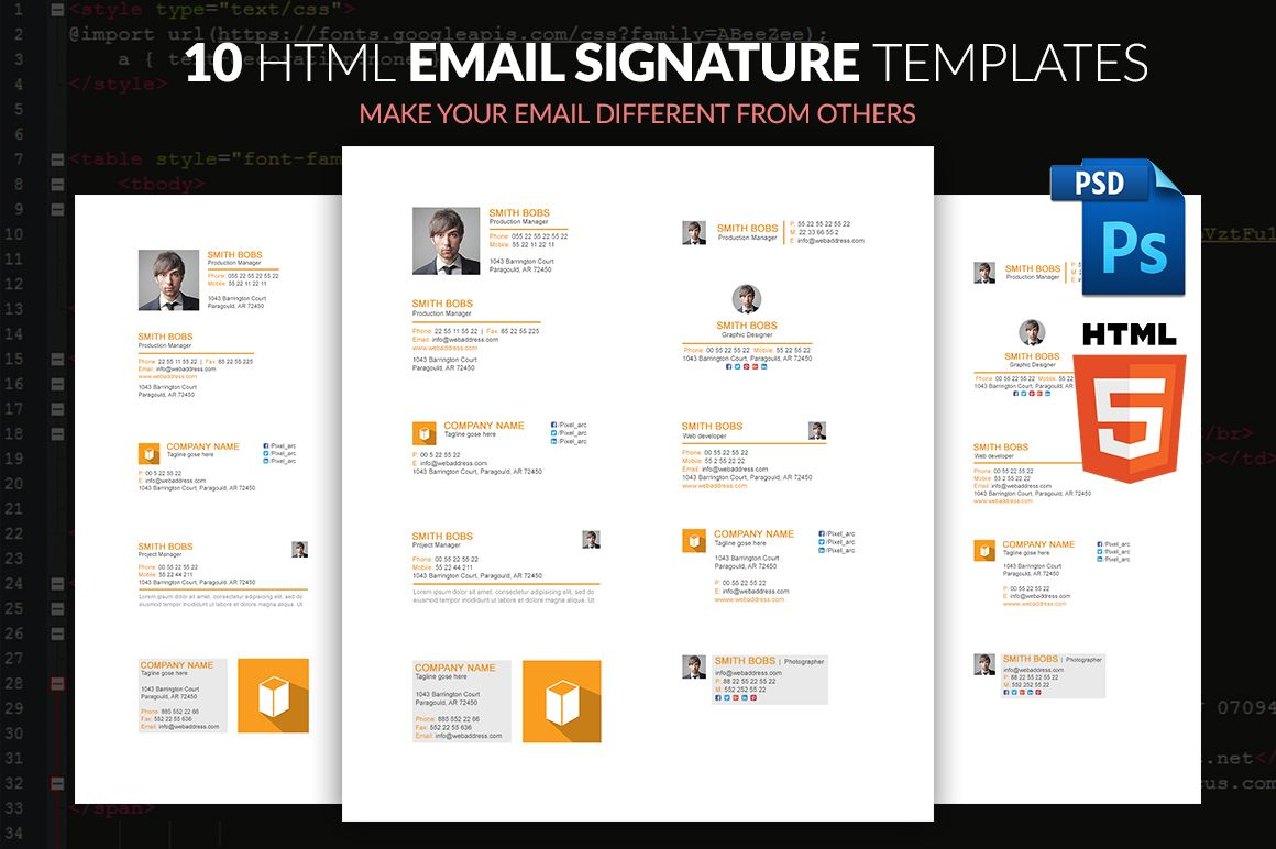 EMAIL SIGNATURE TEMPLATE WITH HTML by pixel_arc on
