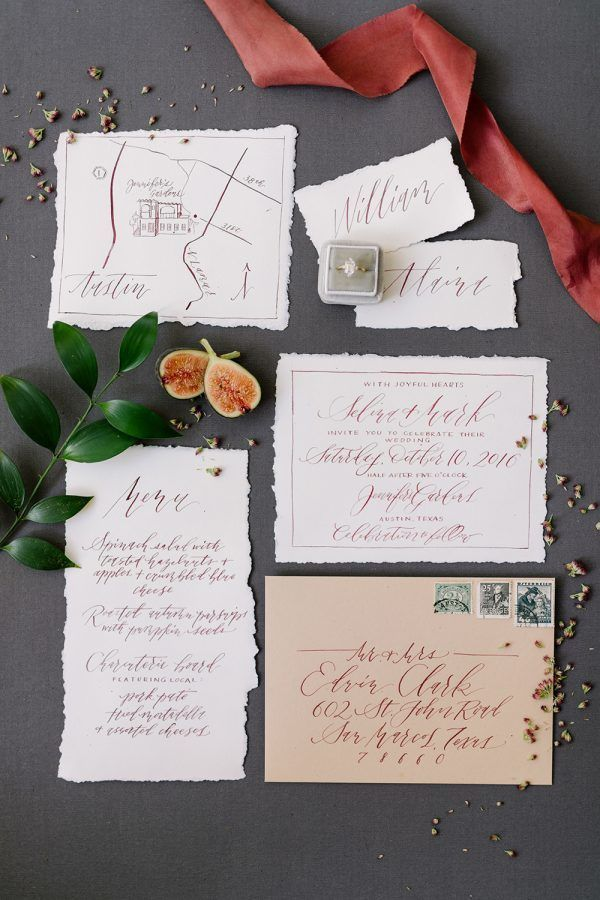 paper style wedding invitations%0A Serious Style for a Red Wedding
