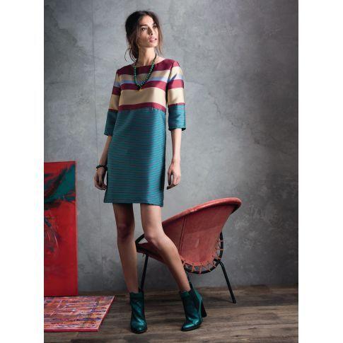 Kleid, Reißverschluss an der hinteren Mitte, 3/4 Arm, leger geschnitten, Blockstreifen Vorderansicht