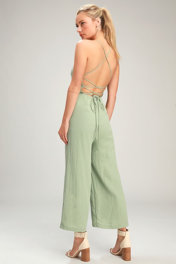 7a0ca8753c8 Sage Green Jumpsuit - Culotte Jumpsuit - Lace-Up Jumpsuit