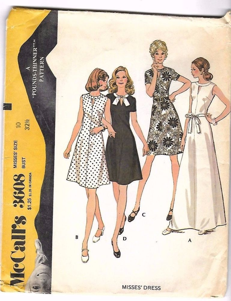 Vintage 1970\'s Sewing Pattern McCall\'s 3608 A-Line Dress Neckband ...