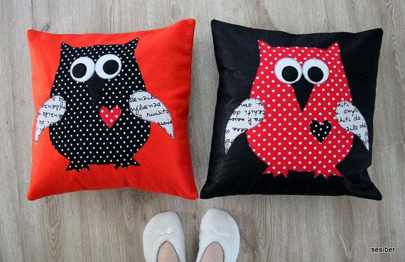 Red and Black Pillow Cover Set Polka Dots Owl by sesideco on Etsy, $80.00