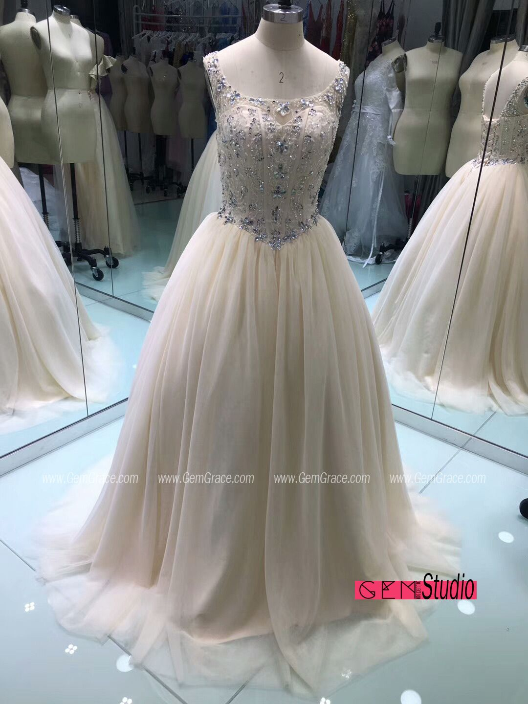 Flowy Ballgown Tulle Prom Dress with Beaded Top. Custom with heart ...