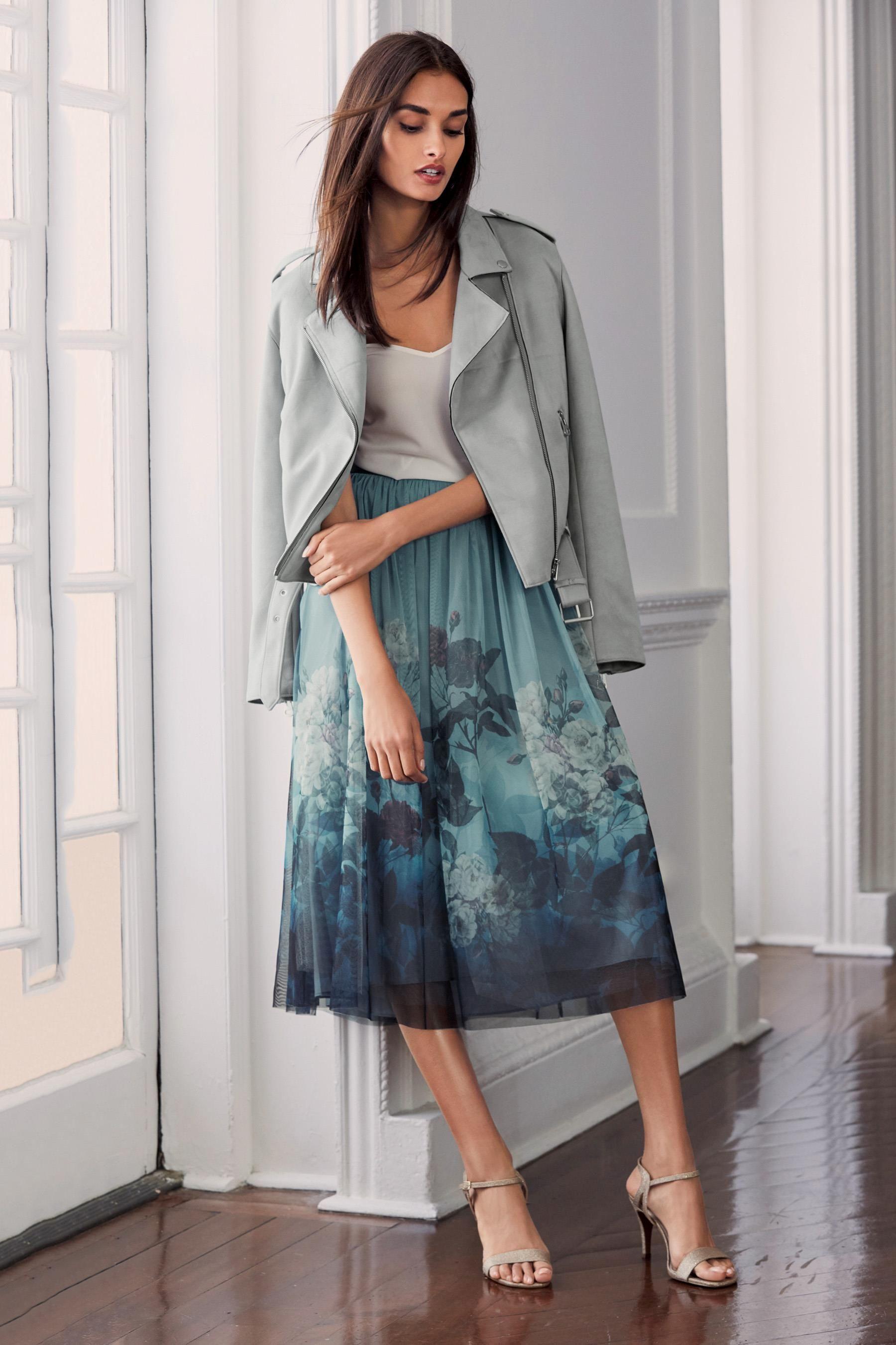 2077cb5fe Buy Blue/Black Printed Mesh Skirt from the Next UK online shop ...