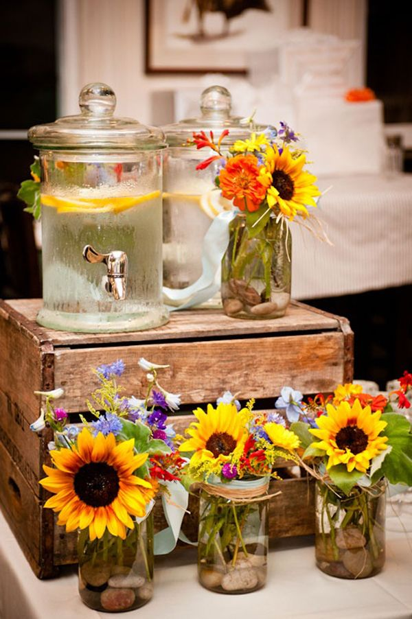 pictures of wedding centerpieces using mason jars%0A Fall Decor Idea Sunflowers in mason jars  Pretty display for a summer  wedding or you could use it for any party   I like the flower displays   simple glass
