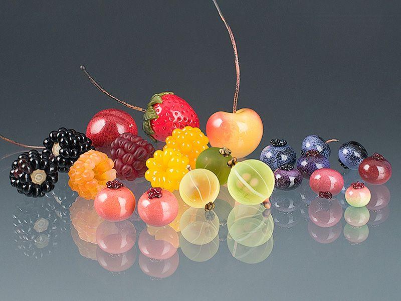 A rainbow sampling of my glass berry sculptures: Elizabeth Johnson