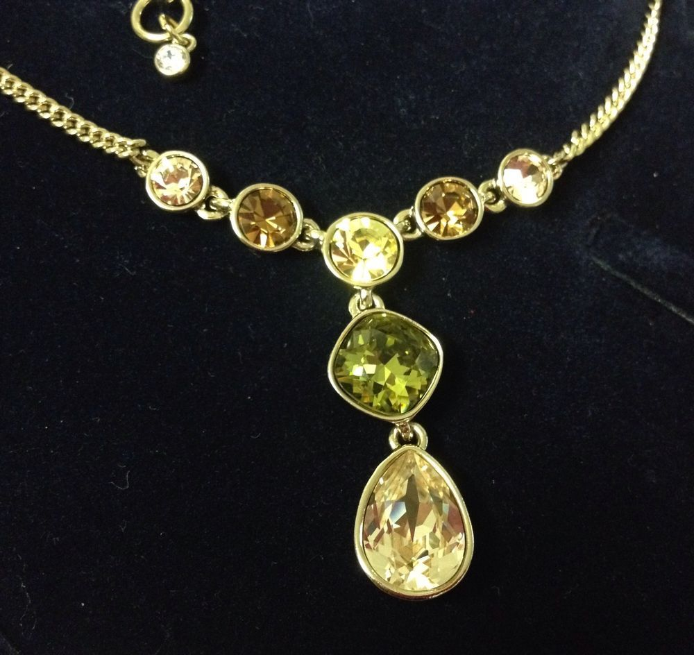 GIVENCHY Green & Multi-Color Crystal Gold-Tone Y Pendant Necklace New $58 #Givenchy #Pendant