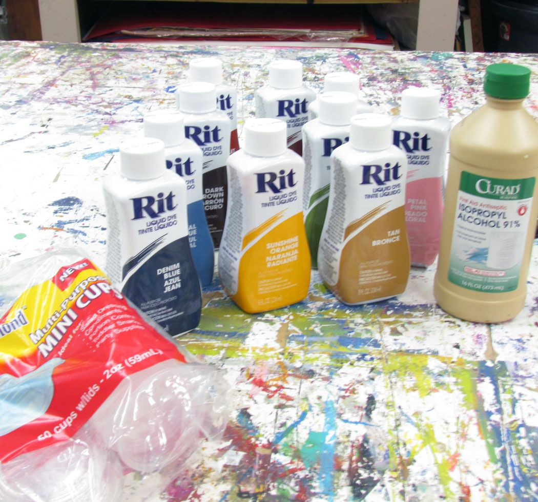 Rit Dye and 91% isopropyl alcohol to make alcohol ink