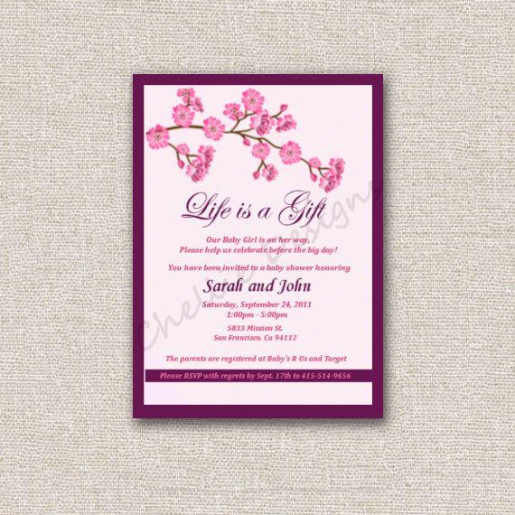Cherry blossom baby shower invitation babygirl showerdiy cherry blossom baby shower invitation filmwisefo
