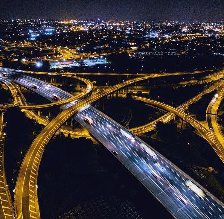 A Pretty Amazing Shot Of Spaghetti Junction At Night
