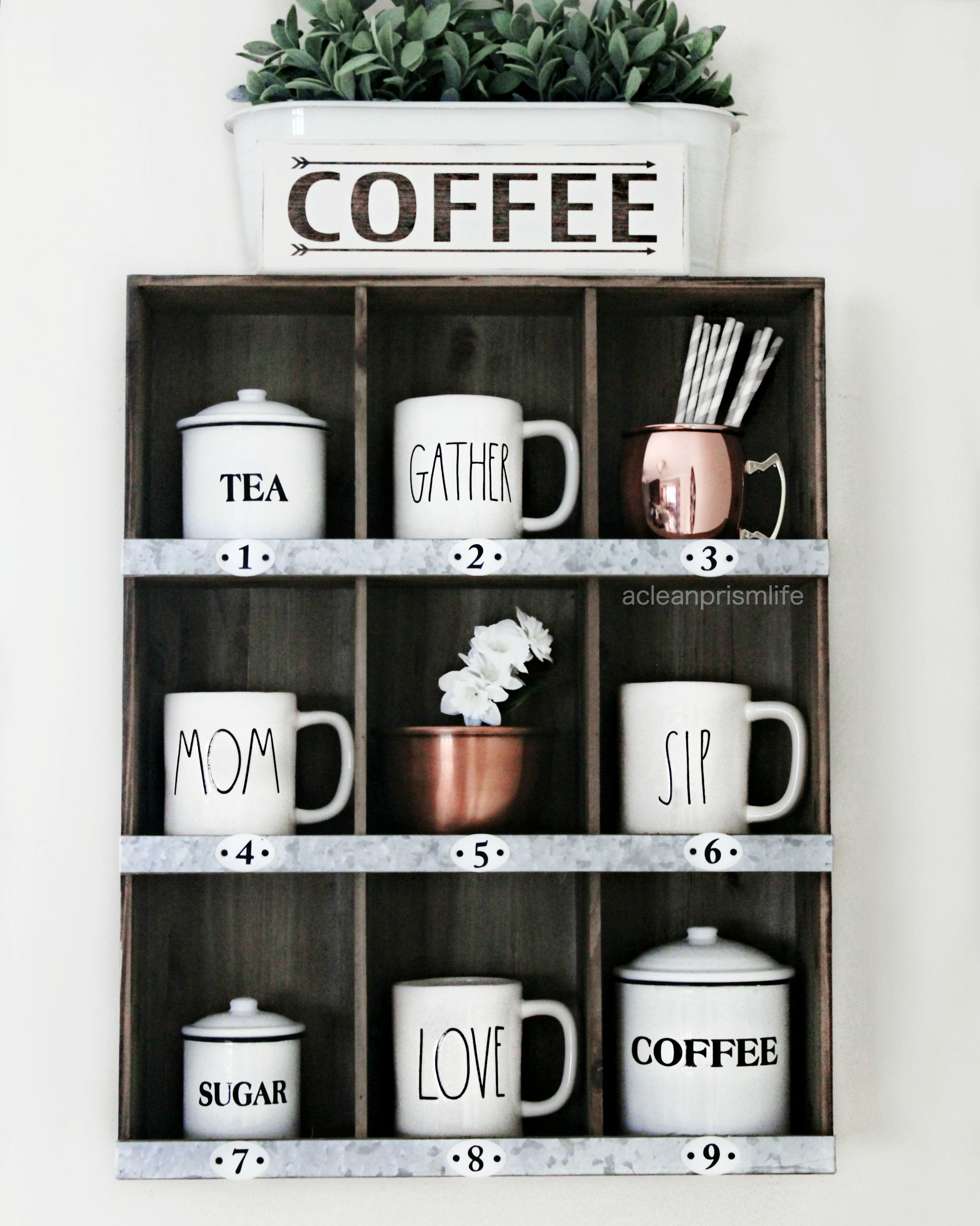 rae dunn clay coffee station modern farmhouse decor target shelf numbered cubbies canisters home styling www acleanprismlife com