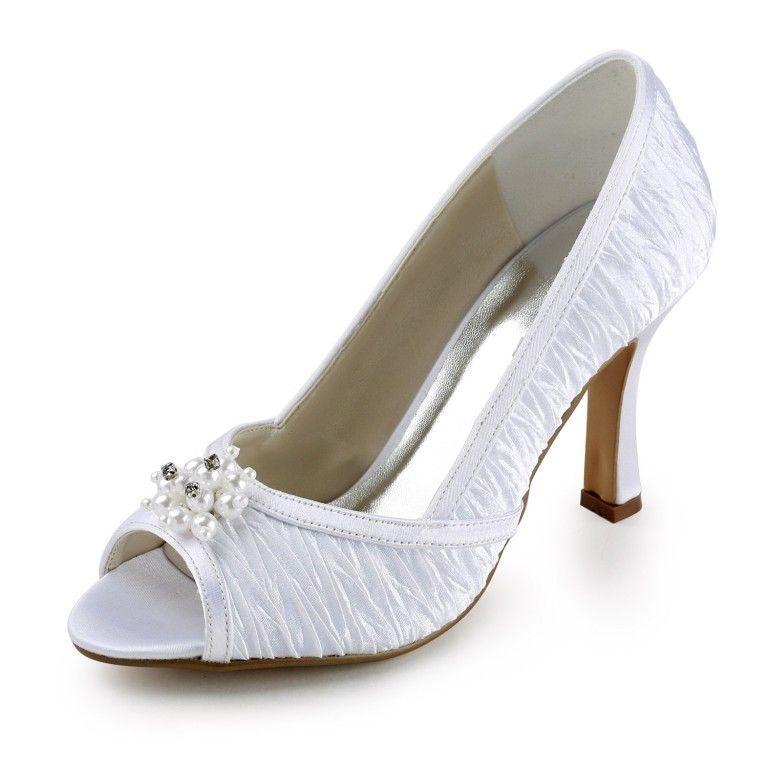 Custom Made All SIze Satin Bridal Bridesmaids Women High Heel Flat Wedding Shoes OpenToe