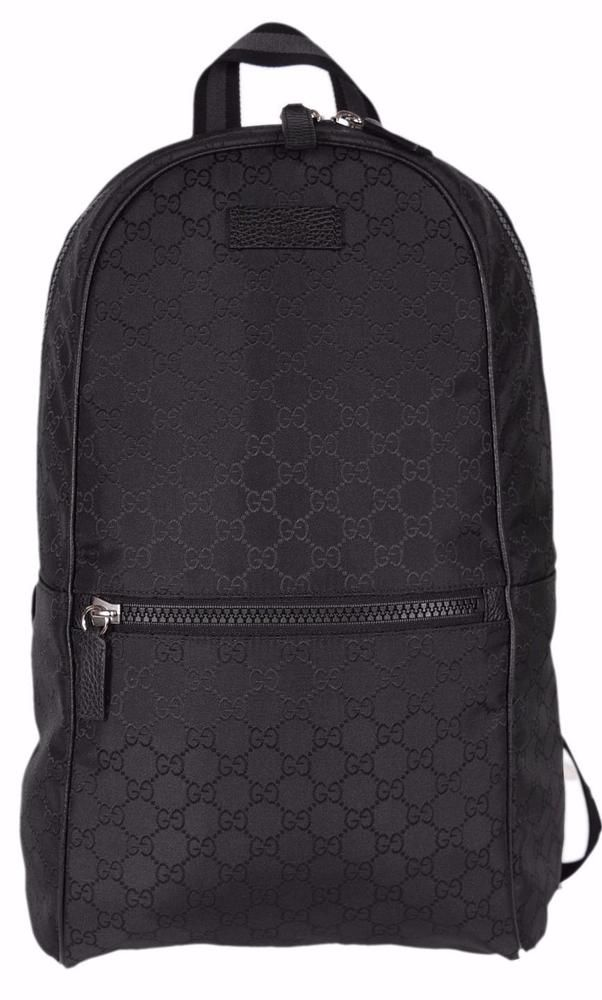 New Gucci 449181 Black Nylon GG Guccissima Slim Backpack Rucksack Travel  Bag  Gucci  Backpack f9b73f3e3dedb