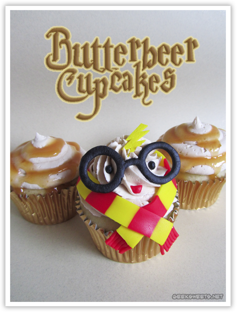 Butterbeer Cupcakes, with one decorated to look like Harry Potter. Recipe and more photos at the source.
