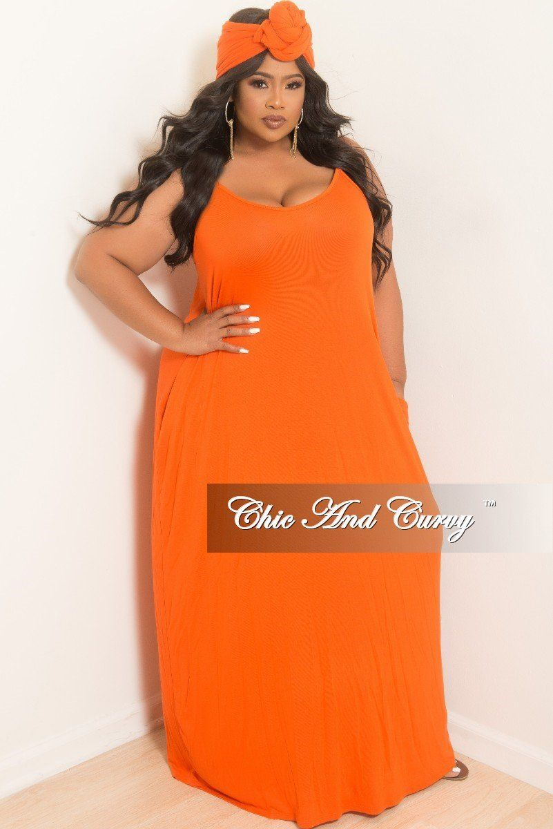 66eea40ff77 Plus Size Spaghetti Strap Long Dress with Matching Head Wrap in Orange –  Chic And Curvy