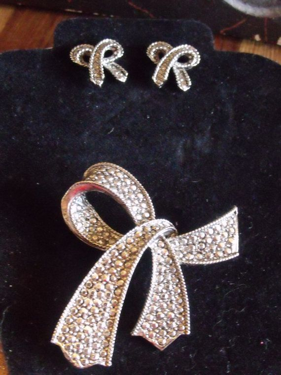 Marcasitelook Brooch and Earring set by Lord & by MintyVinties, $28.00