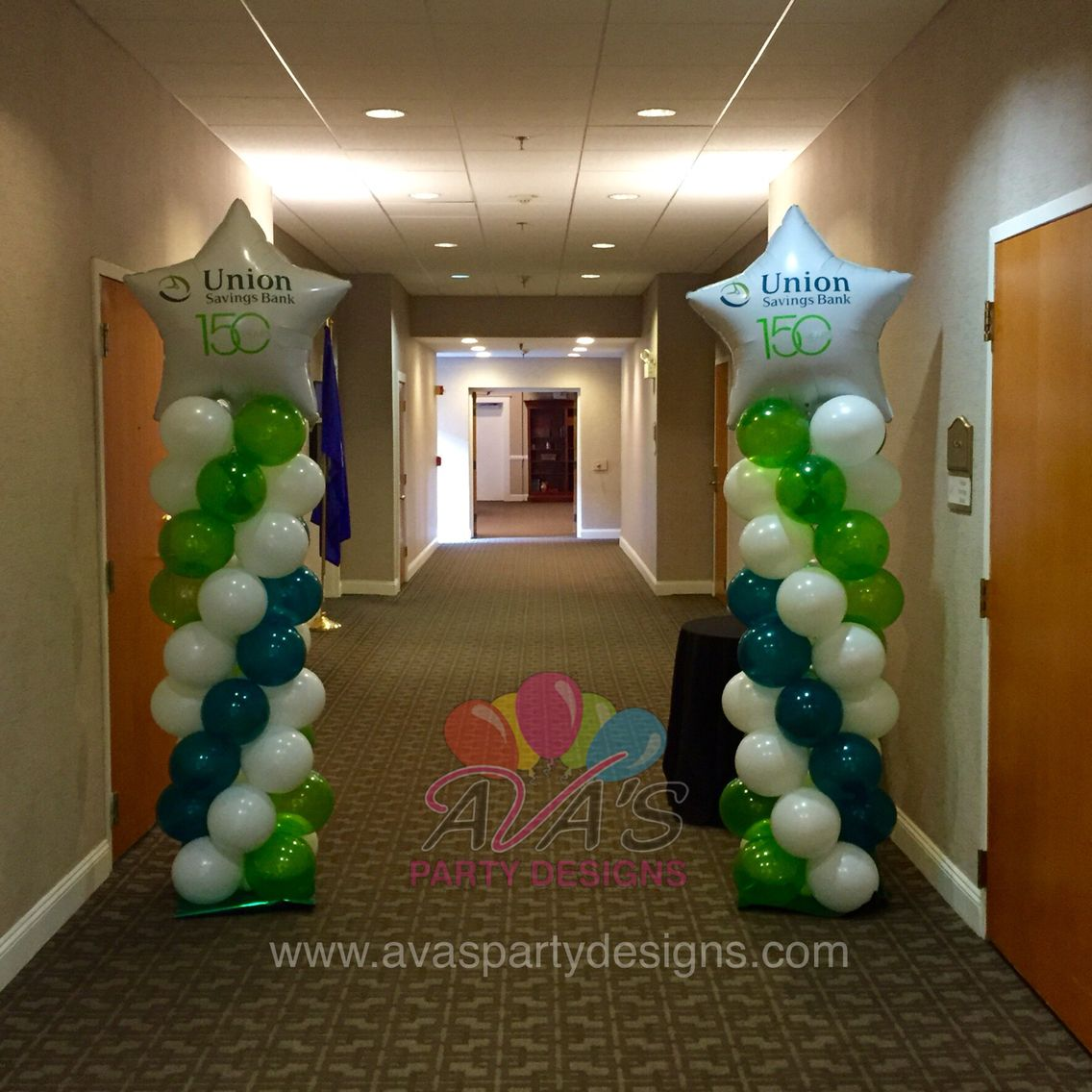 Personalized 150th anniversary balloon column for union for Balloon decoration companies